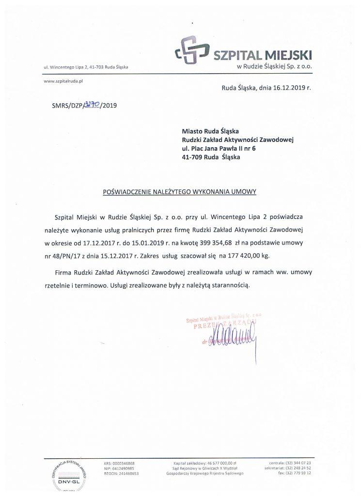 referencje szpital w Rudzie Śląskiej