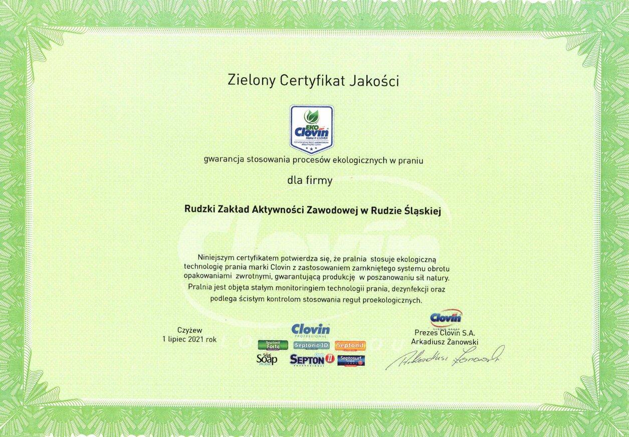 Zielony Certyfikat Jakości